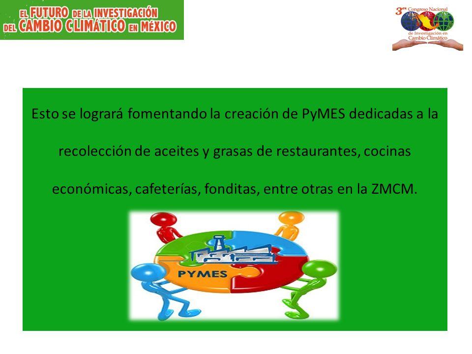 Esto se logrará fomentando la creación de PyMES dedicadas a la recolección de aceites y grasas de restaurantes, cocinas económicas, cafeterías, fonditas, entre otras en la ZMCM.