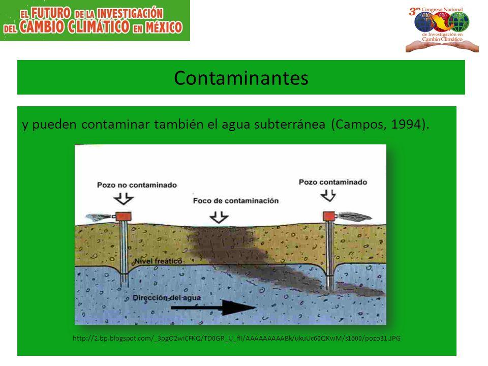 Contaminantes y pueden contaminar también el agua subterránea (Campos, 1994).