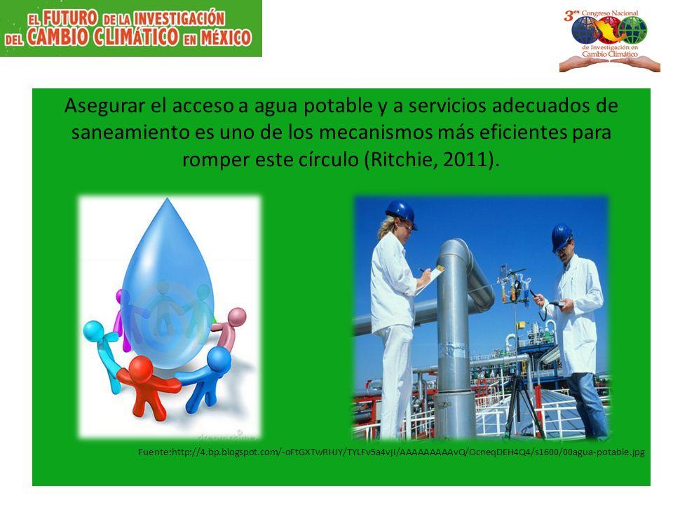 Asegurar el acceso a agua potable y a servicios adecuados de saneamiento es uno de los mecanismos más eficientes para romper este círculo (Ritchie, 2011).