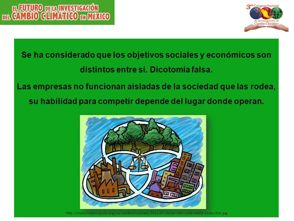 Se ha considerado que los objetivos sociales y económicos son distintos entre sí. Dicotomía falsa.