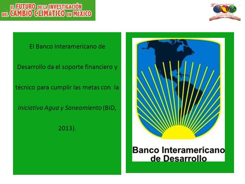 El Banco Interamericano de Desarrollo da el soporte financiero y técnico para cumplir las metas con la Iniciativa Agua y Saneamiento (BID, 2013).