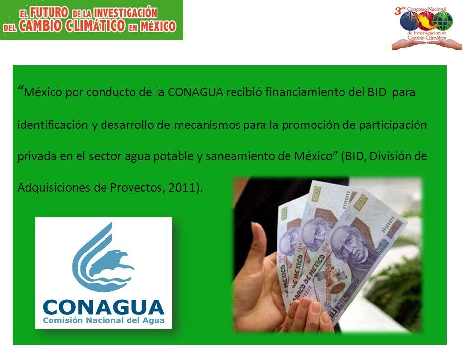 México por conducto de la CONAGUA recibió financiamiento del BID para identificación y desarrollo de mecanismos para la promoción de participación privada en el sector agua potable y saneamiento de México (BID, División de Adquisiciones de Proyectos, 2011).