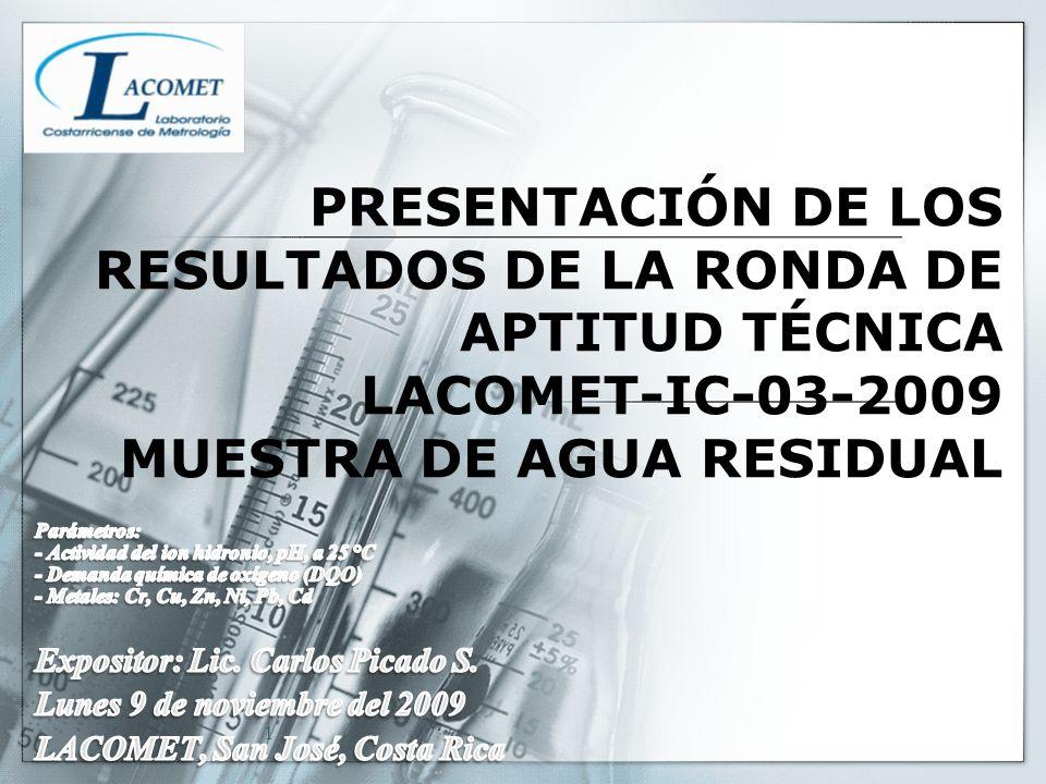 PRESENTACIÓN DE LOS RESULTADOS DE LA RONDA DE APTITUD TÉCNICA LACOMET-IC-03-2009 MUESTRA DE AGUA RESIDUAL