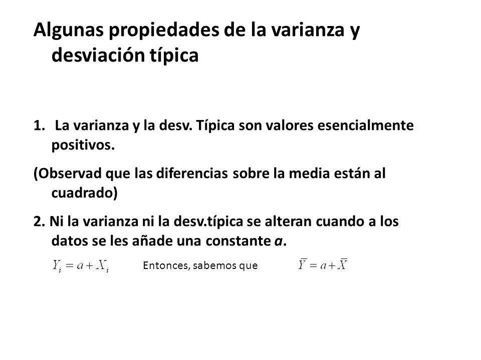 Algunas propiedades de la varianza y desviación típica