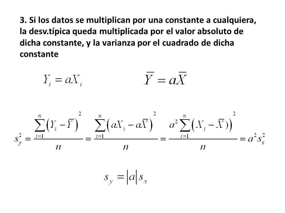 3. Si los datos se multiplican por una constante a cualquiera, la desv