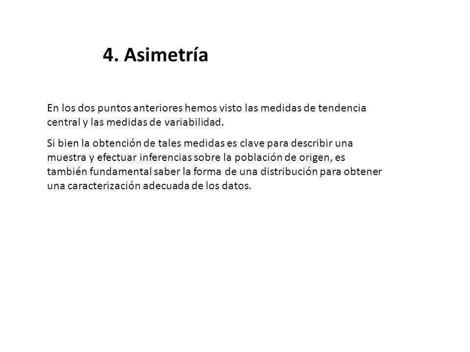 4. Asimetría En los dos puntos anteriores hemos visto las medidas de tendencia central y las medidas de variabilidad.