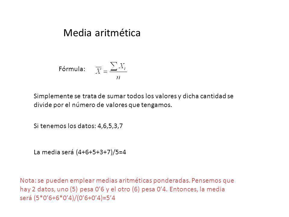 Media aritmética Fórmula: