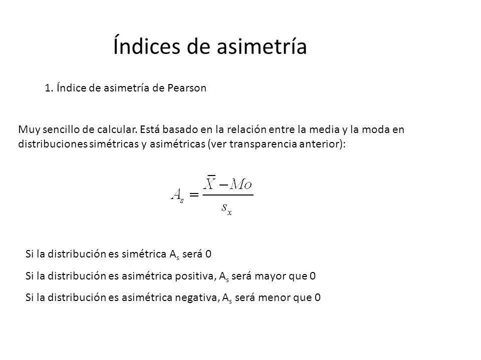Índices de asimetría 1. Índice de asimetría de Pearson