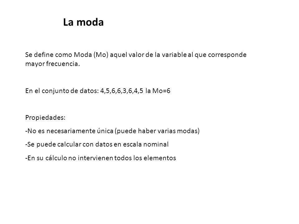 La moda Se define como Moda (Mo) aquel valor de la variable al que corresponde mayor frecuencia. En el conjunto de datos: 4,5,6,6,3,6,4,5 la Mo=6.
