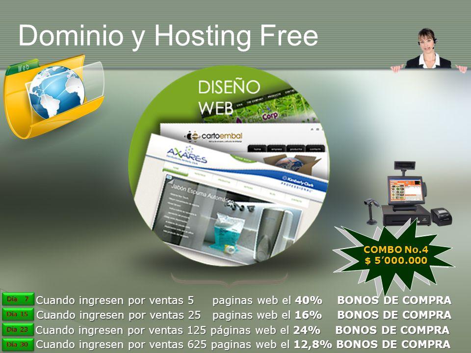 Dominio y Hosting Free COMBO No.4. $ 5'000.000. Día 7. Día 7. Cuando ingresen por ventas 5 paginas web el 40% BONOS DE COMPRA.