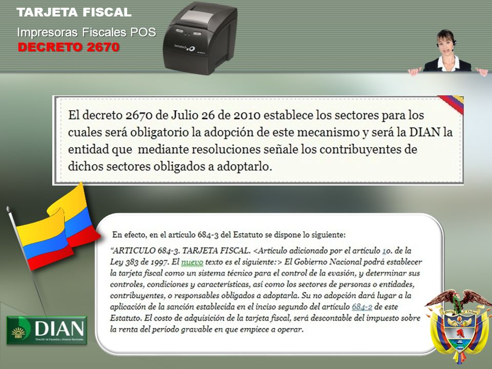 TARJETA FISCAL Impresoras Fiscales POS DECRETO 2670