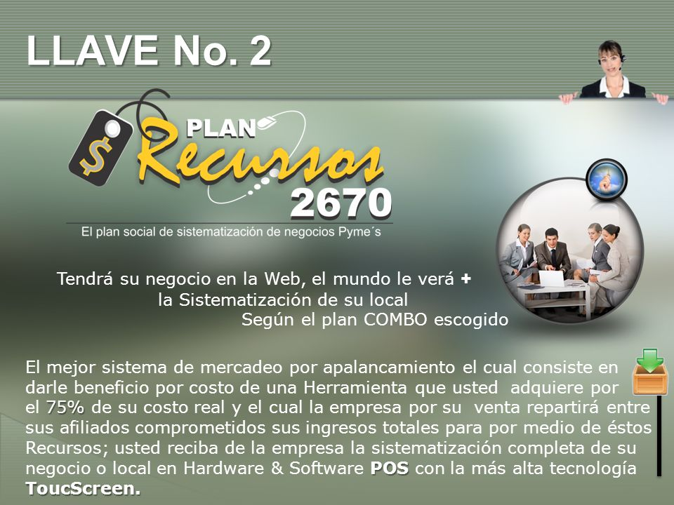 LLAVE No. 2 Tendrá su negocio en la Web, el mundo le verá +