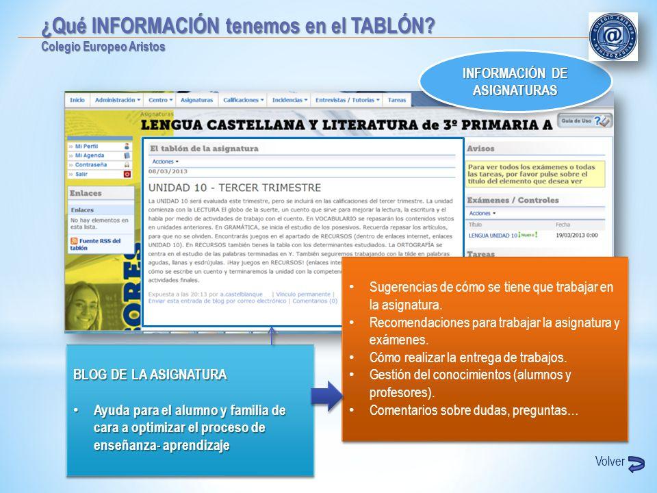 INFORMACIÓN DE ASIGNATURAS