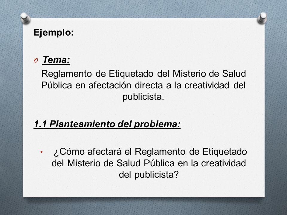 Ejemplo: Tema: Reglamento de Etiquetado del Misterio de Salud Pública en afectación directa a la creatividad del publicista.