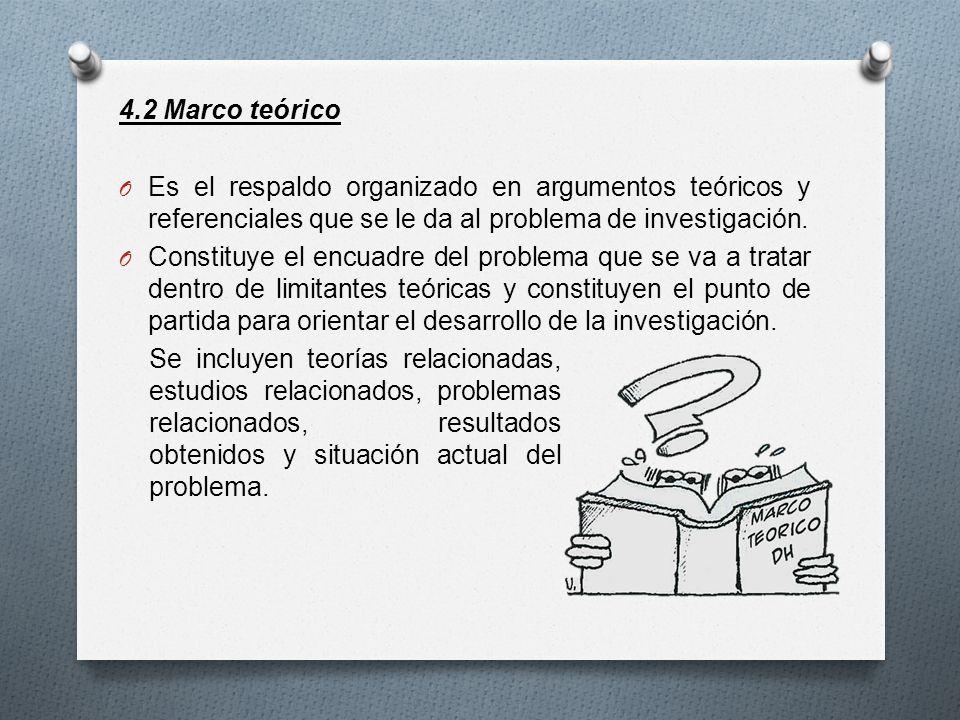 4.2 Marco teórico Es el respaldo organizado en argumentos teóricos y referenciales que se le da al problema de investigación.