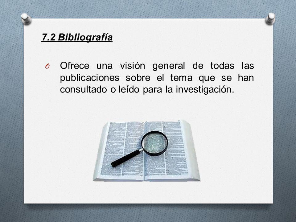 7.2 Bibliografía Ofrece una visión general de todas las publicaciones sobre el tema que se han consultado o leído para la investigación.