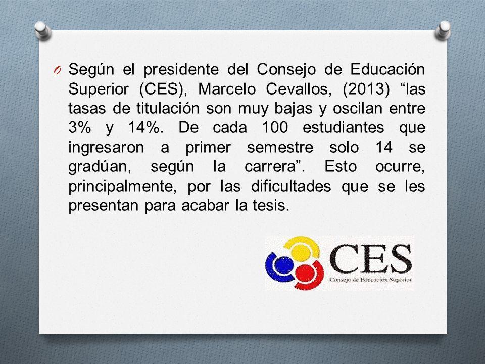 Según el presidente del Consejo de Educación Superior (CES), Marcelo Cevallos, (2013) las tasas de titulación son muy bajas y oscilan entre 3% y 14%.
