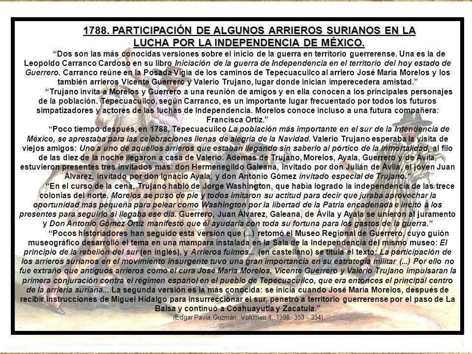 1788. PARTICIPACIÓN DE ALGUNOS ARRIEROS SURIANOS EN LA