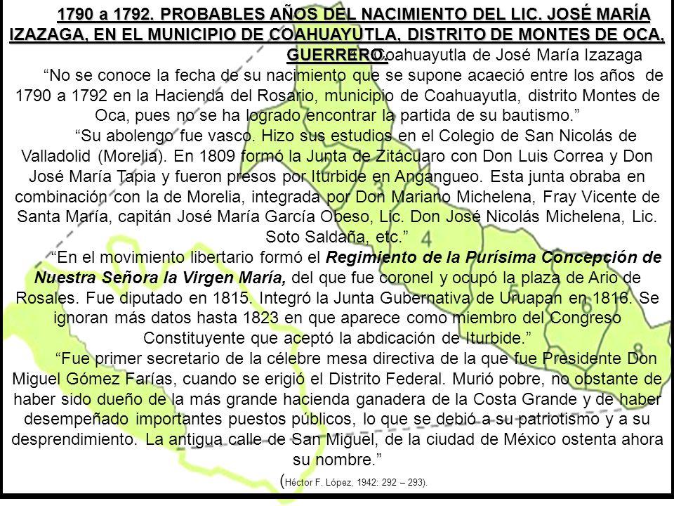 1790 a 1792. PROBABLES AÑOS DEL NACIMIENTO DEL LIC