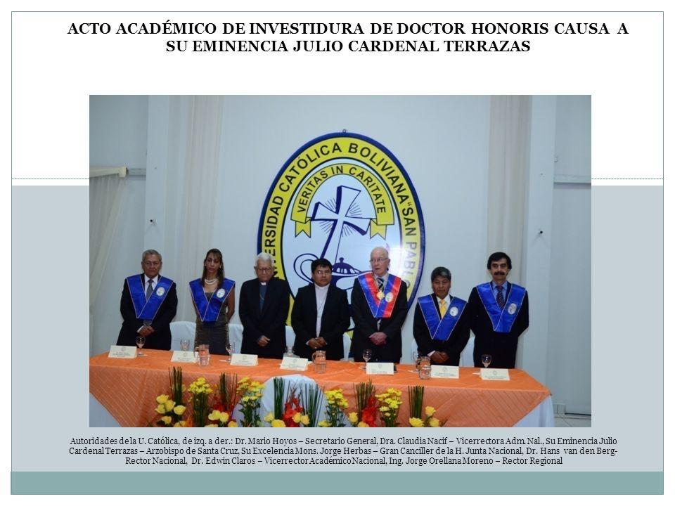 ACTO ACADÉMICO DE INVESTIDURA DE DOCTOR HONORIS CAUSA A