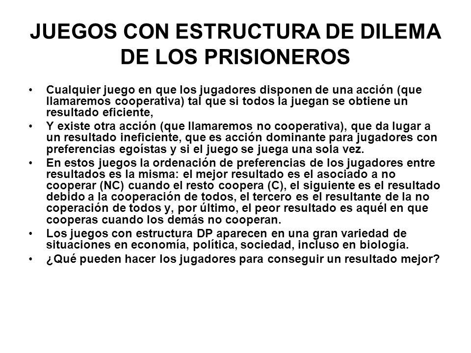 JUEGOS CON ESTRUCTURA DE DILEMA DE LOS PRISIONEROS