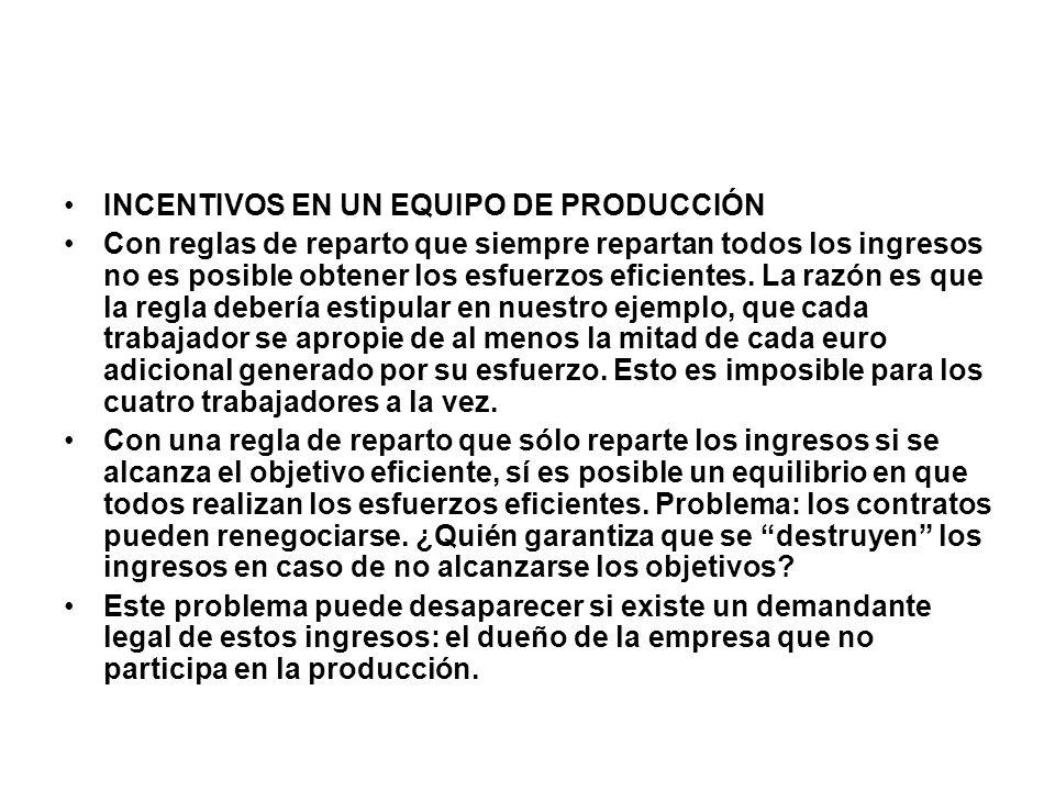 INCENTIVOS EN UN EQUIPO DE PRODUCCIÓN