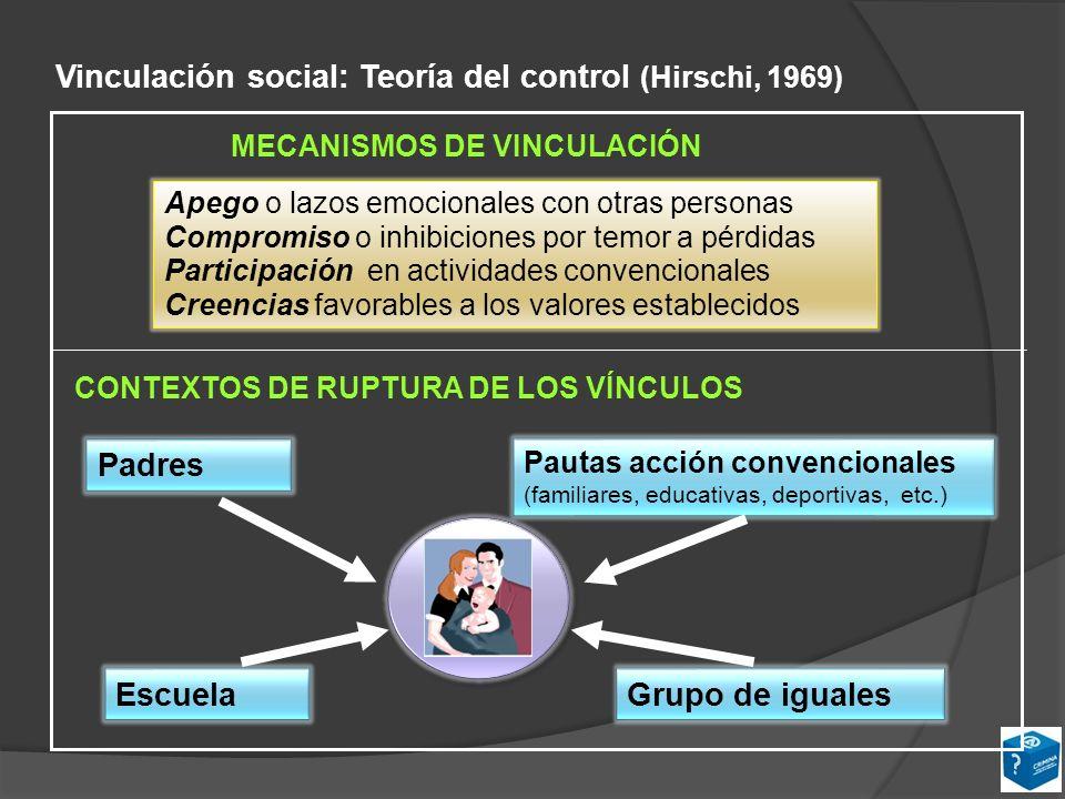 Vinculación social: Teoría del control (Hirschi, 1969)