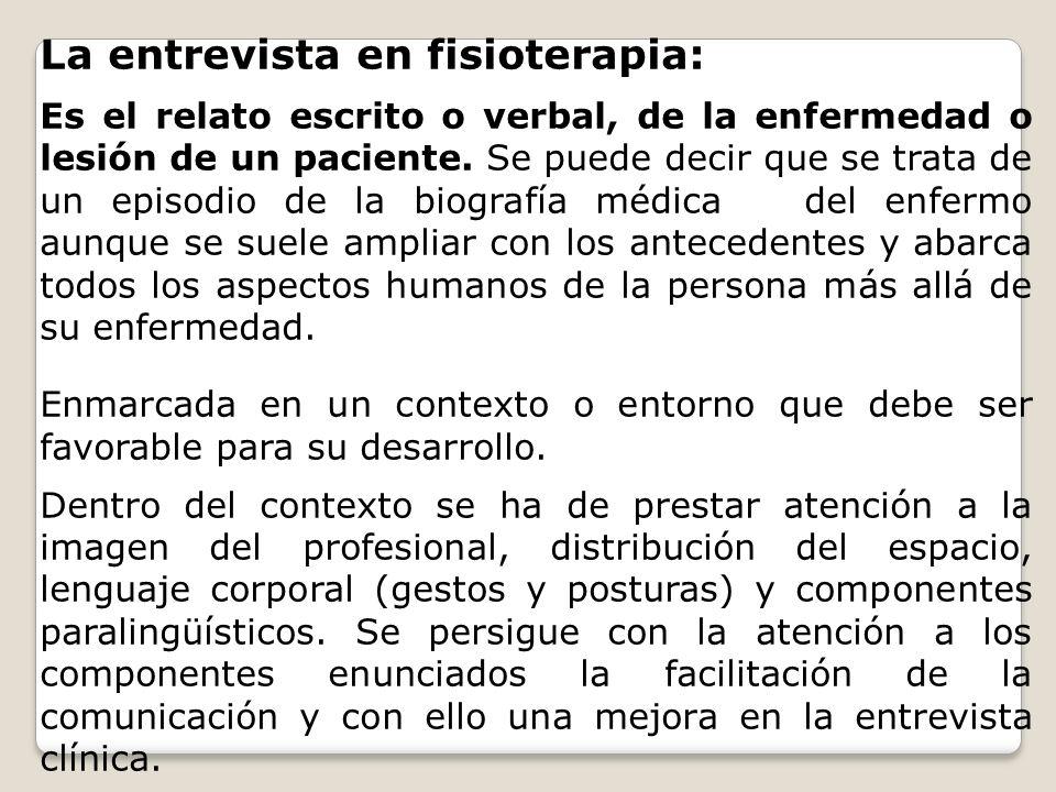 La entrevista en fisioterapia: