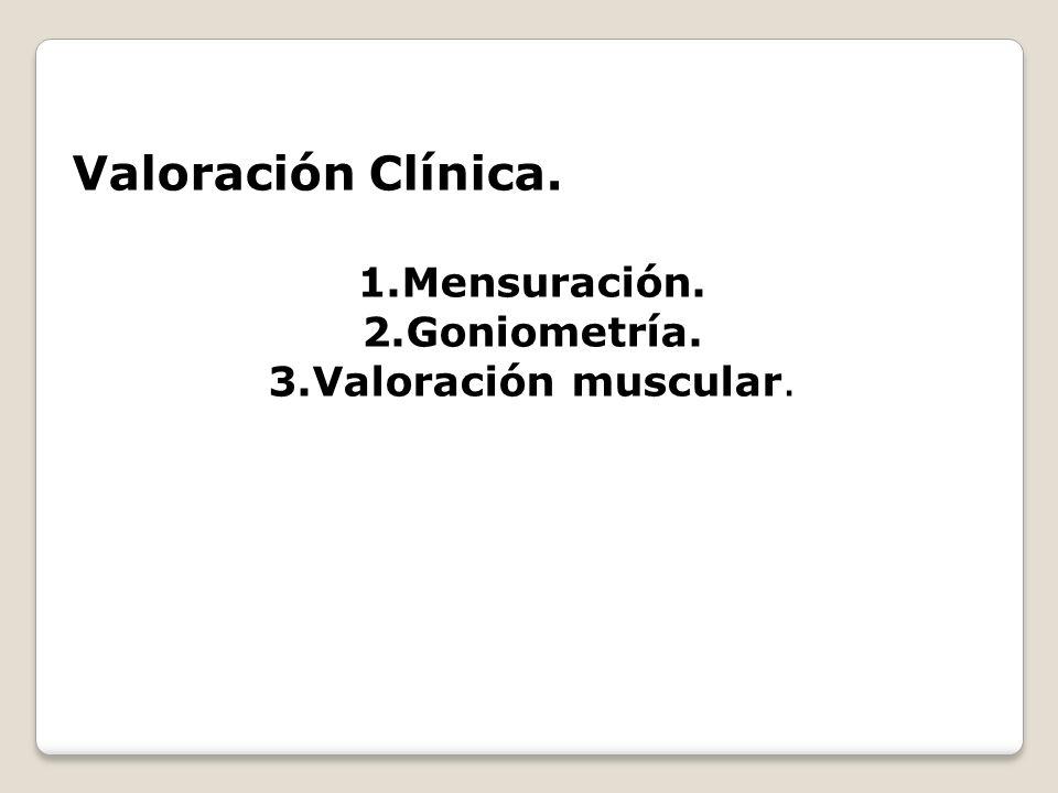 Valoración Clínica. Mensuración. Goniometría. Valoración muscular.
