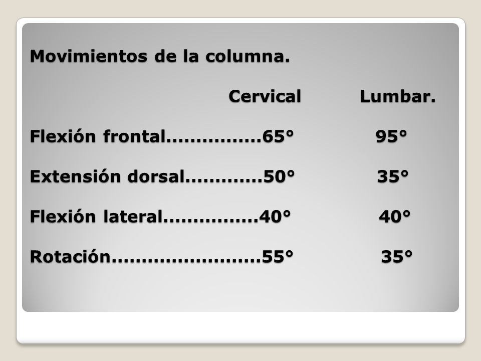 Movimientos de la columna. Cervical Lumbar. Flexión frontal