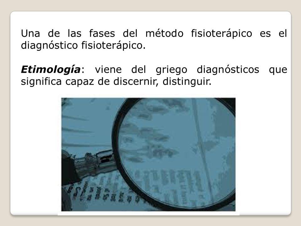 Una de las fases del método fisioterápico es el diagnóstico fisioterápico.