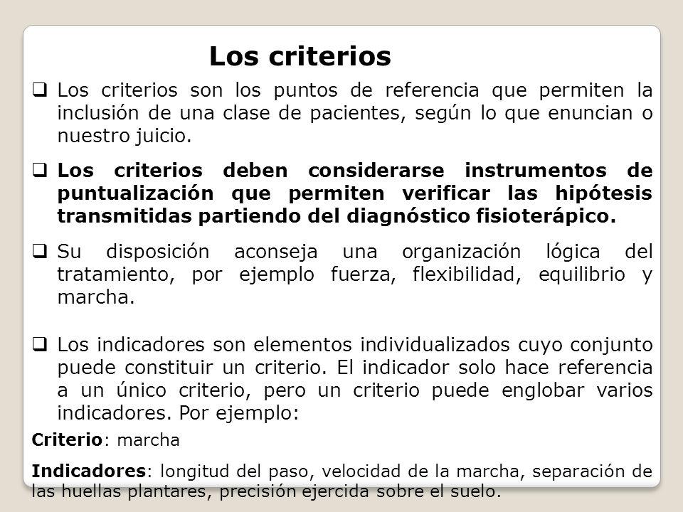 Los criterios Los criterios son los puntos de referencia que permiten la inclusión de una clase de pacientes, según lo que enuncian o nuestro juicio.