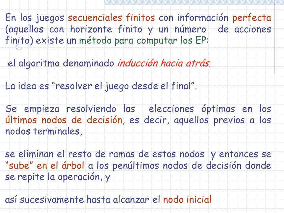 En los juegos secuenciales finitos con información perfecta (aquellos con horizonte finito y un número de acciones finito) existe un método para computar los EP: