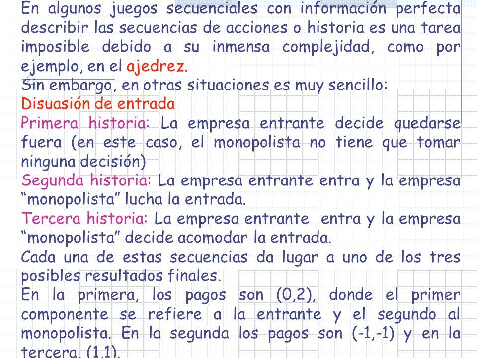 En algunos juegos secuenciales con información perfecta describir las secuencias de acciones o historia es una tarea imposible debido a su inmensa complejidad, como por ejemplo, en el ajedrez.