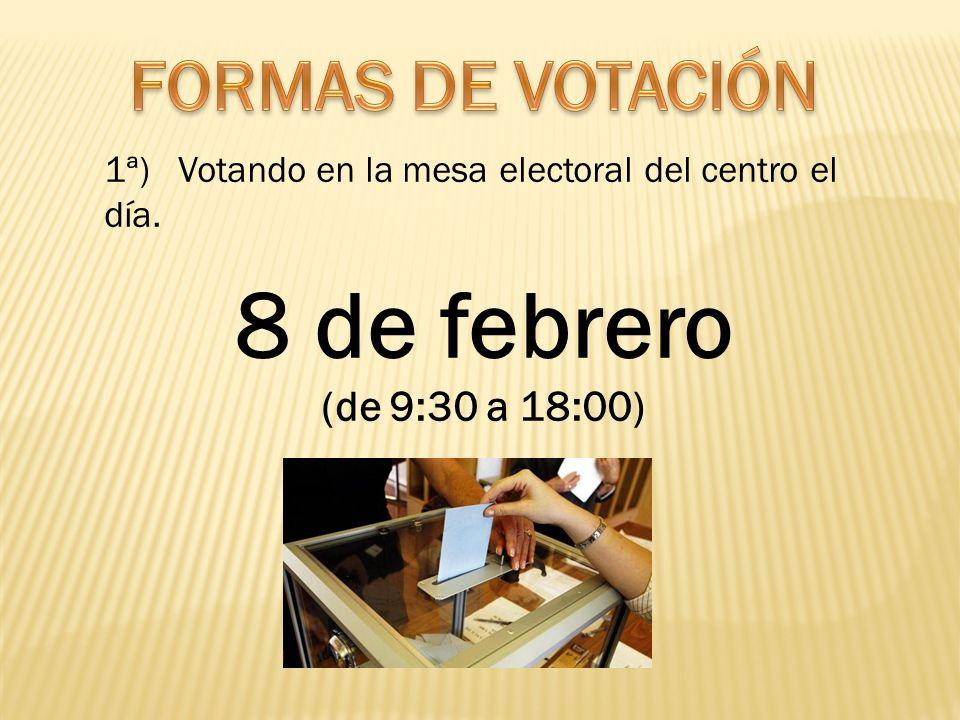 8 de febrero FORMAS DE VOTACIÓN (de 9:30 a 18:00)