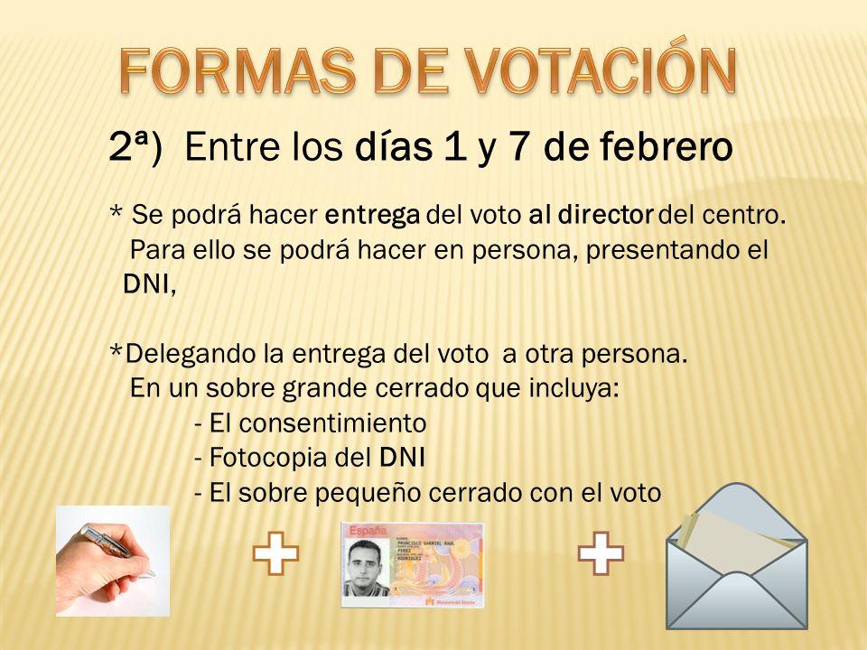FORMAS DE VOTACIÓN 2ª) Entre los días 1 y 7 de febrero