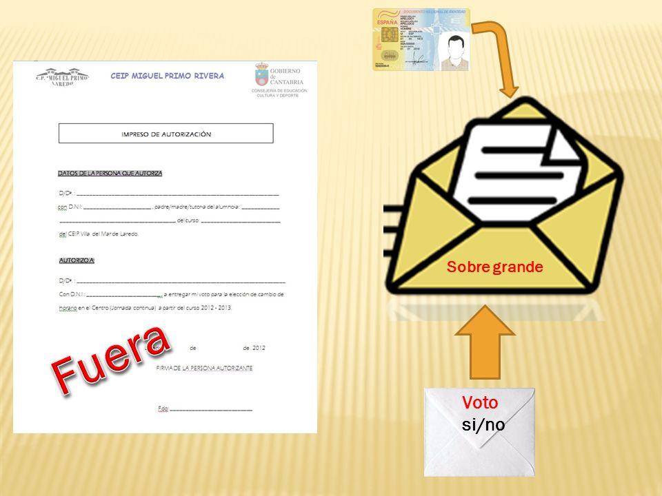 Sobre grande Fuera Voto si/no