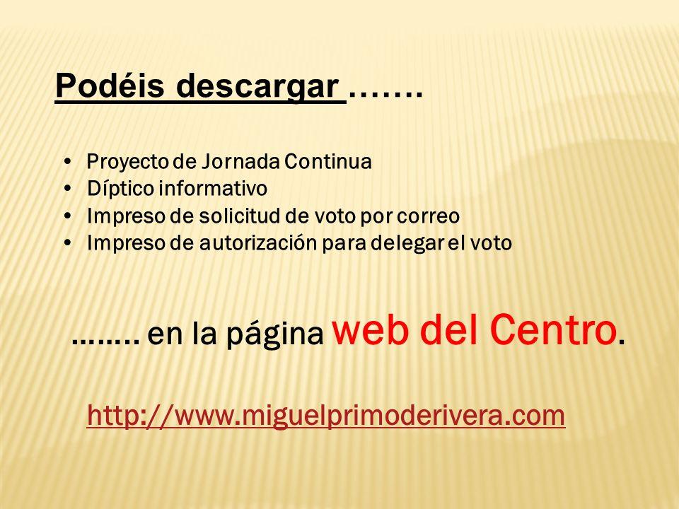 …….. en la página web del Centro.