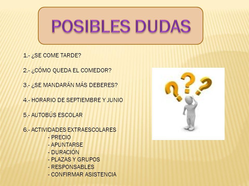 POSIBLES DUDAS 1.- ¿SE COME TARDE 2.- ¿CÓMO QUEDA EL COMEDOR