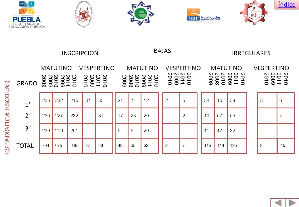 Estadística escolar BAJAS INSCRIPCION IRREGULARES MATUTINO VESPERTINO