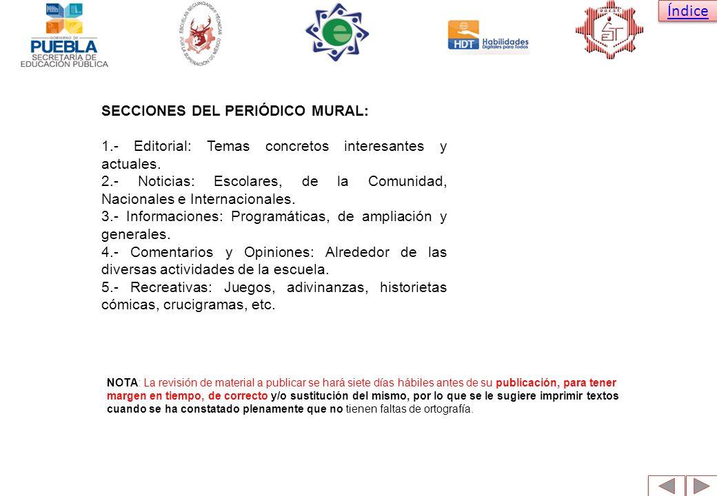 SECCIONES DEL PERIÓDICO MURAL: