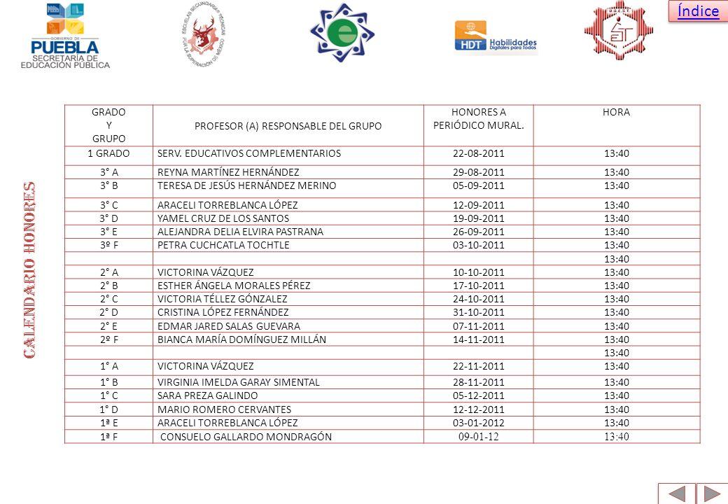Calendario honores GRADO Y GRUPO PROFESOR (A) RESPONSABLE DEL GRUPO