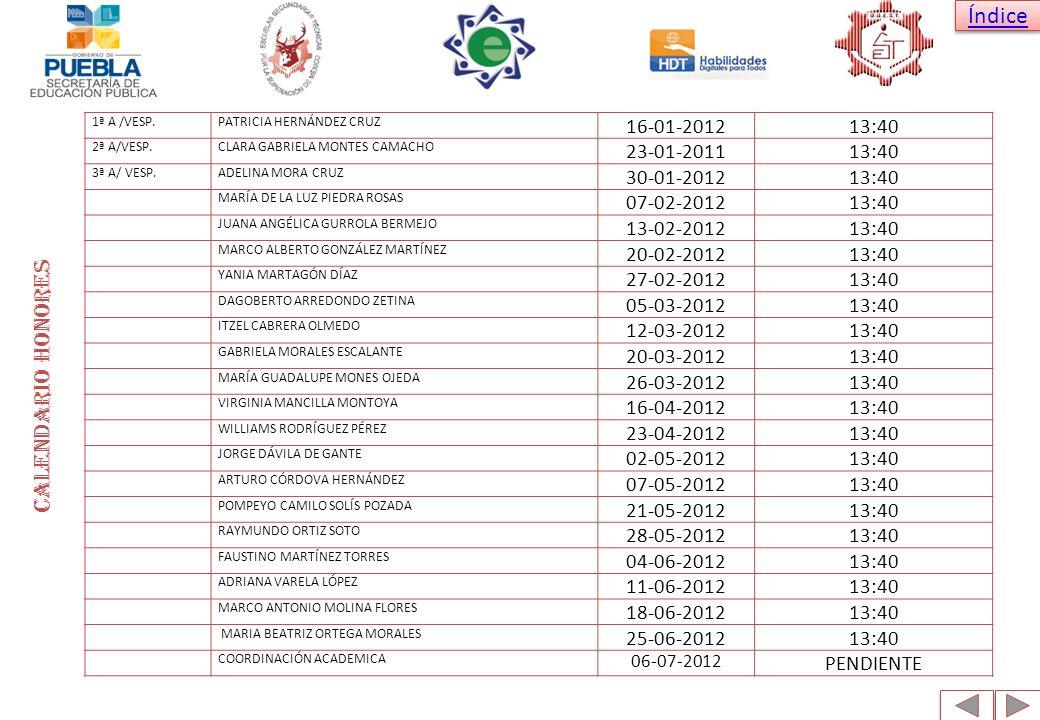 Calendario honores 16-01-2012 13:40 23-01-2011 30-01-2012 07-02-2012