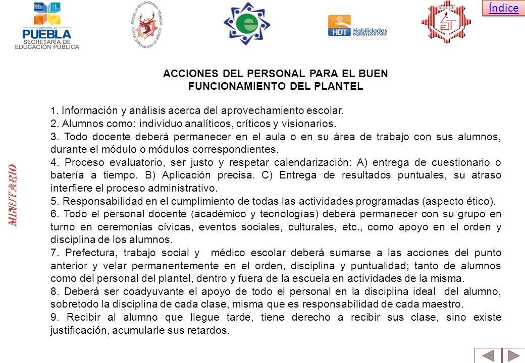 minutario ACCIONES DEL PERSONAL PARA EL BUEN