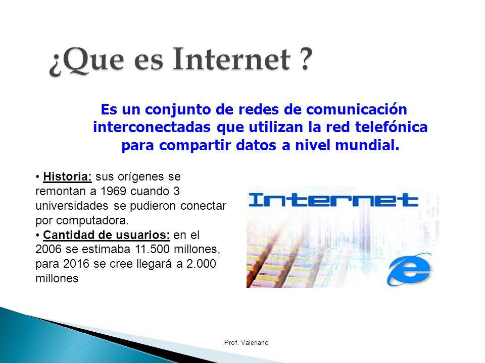 ¿Que es Internet Es un conjunto de redes de comunicación interconectadas que utilizan la red telefónica para compartir datos a nivel mundial.