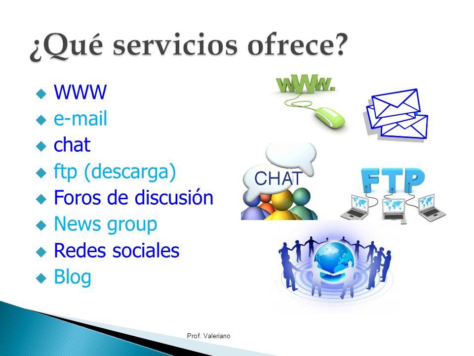 ¿Qué servicios ofrece WWW e-mail chat ftp (descarga)