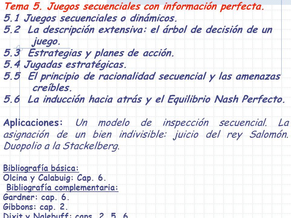 Tema 5. Juegos secuenciales con información perfecta.