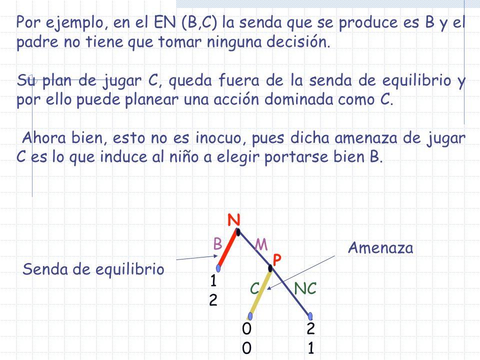 Por ejemplo, en el EN (B,C) la senda que se produce es B y el padre no tiene que tomar ninguna decisión.