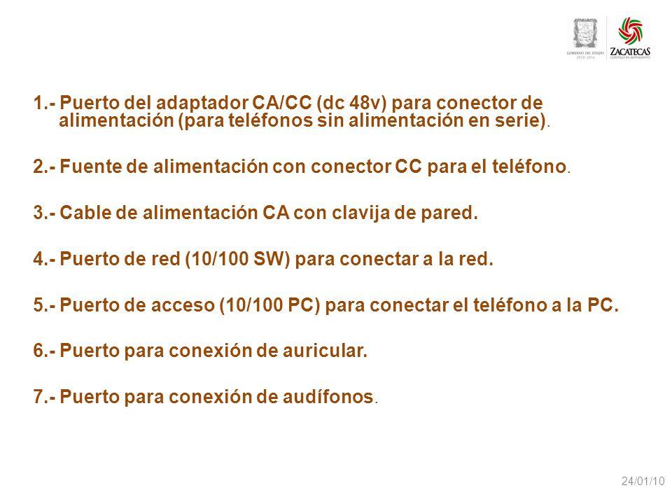 2.- Fuente de alimentación con conector CC para el teléfono.