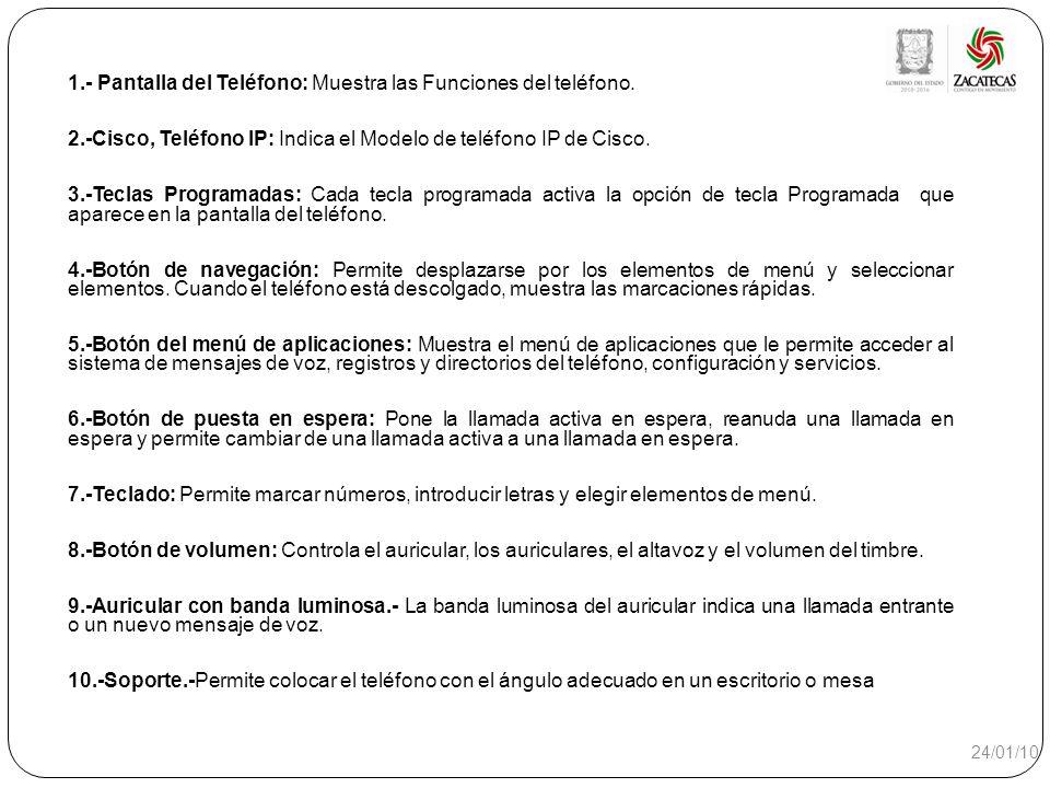 1.- Pantalla del Teléfono: Muestra las Funciones del teléfono.
